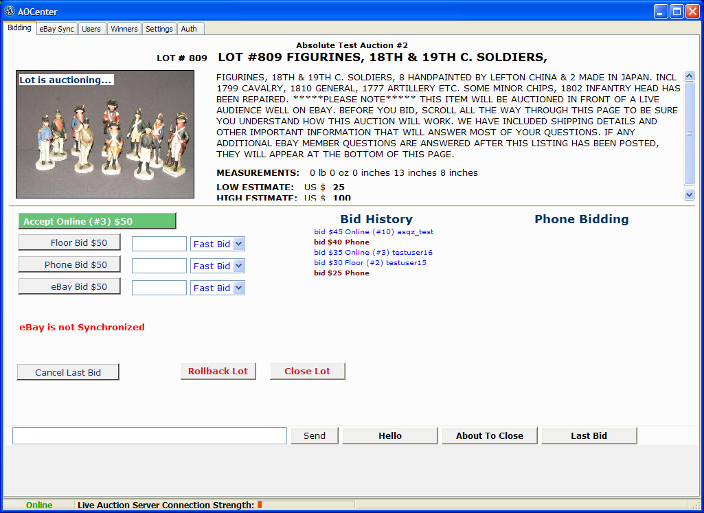 Live Auction Administration Sofware