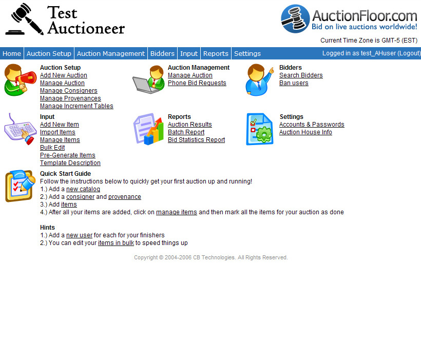 Web Administration home page