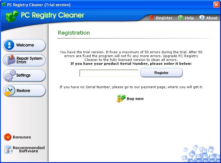 Registartion dialog
