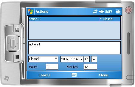 Edit case actions (wide mode)