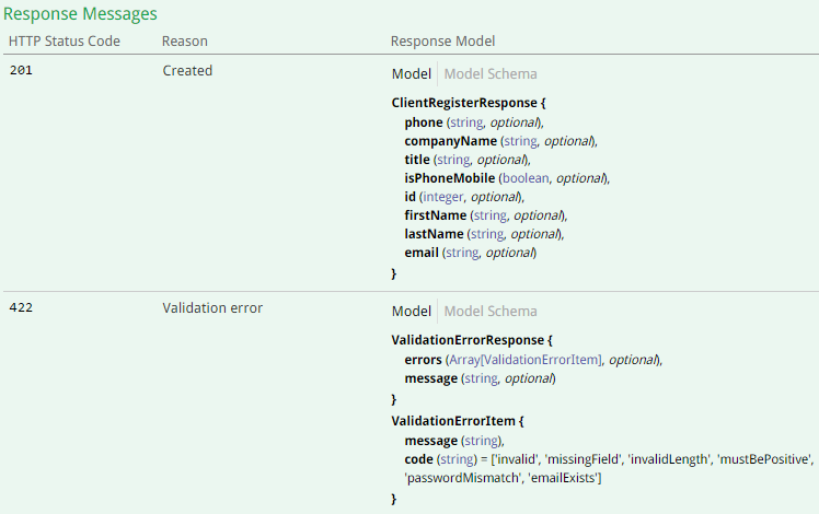 For Client also accessible different API's responses that will be in case of 1) valid values or 2) wrong values (ClientRegisterResponse and ValidationErrorResponse respectively, Screenshot #3) when we try to create a new Client.