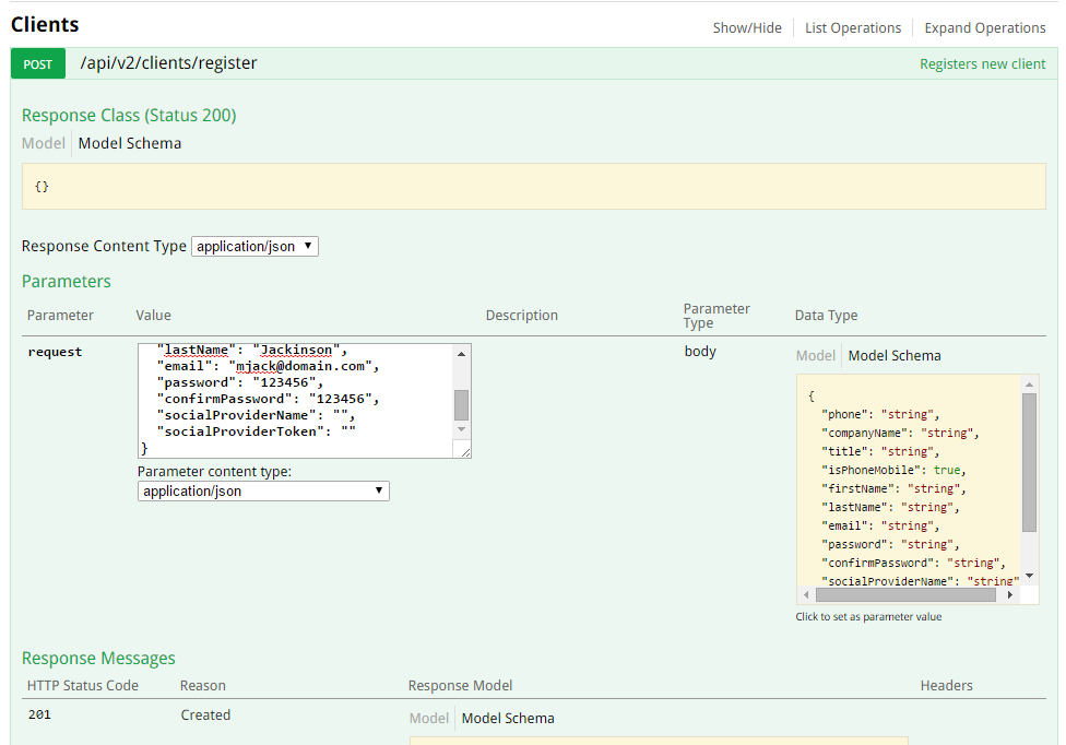 Look at the Screenshot #2, the right side of it shows json-structure of data for Client entity.