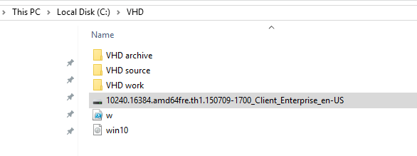The list of different Windows sources in VHD files.