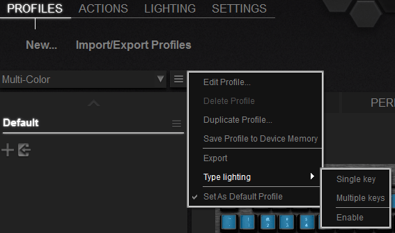 Gaming Keyboard profile settings